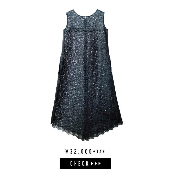 ケミカル刺繍レースドレス